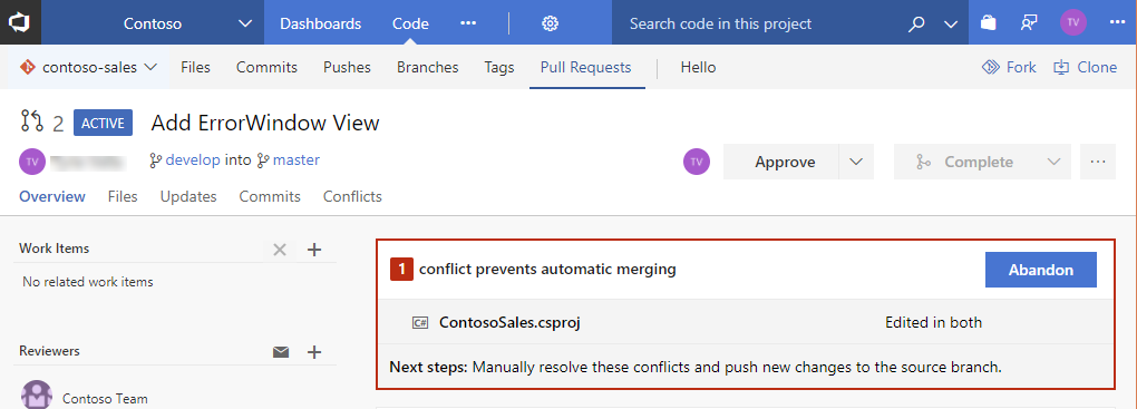 Conflicts Tab