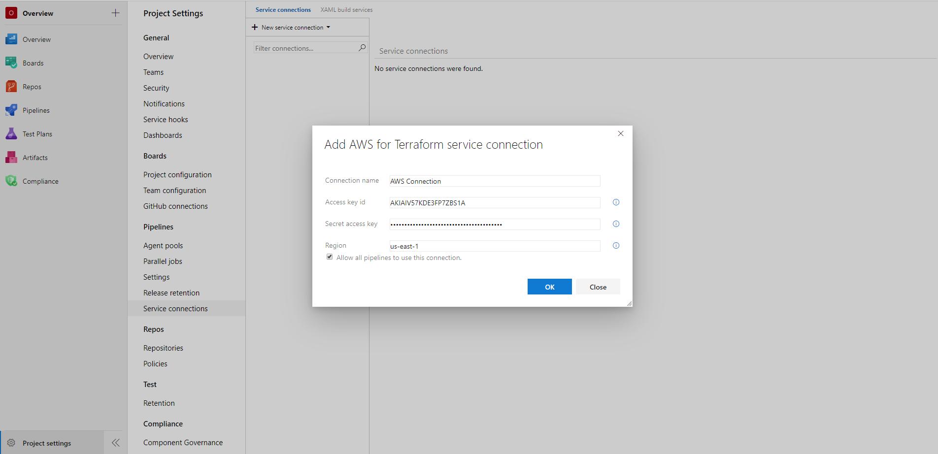 Creating an AWS service connection