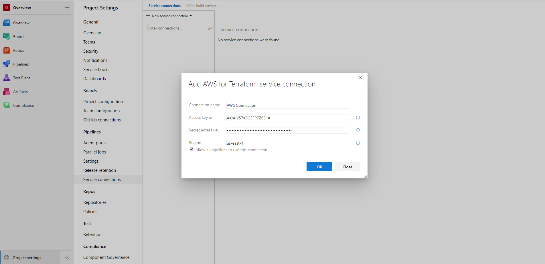 Creating an AWS service connection
