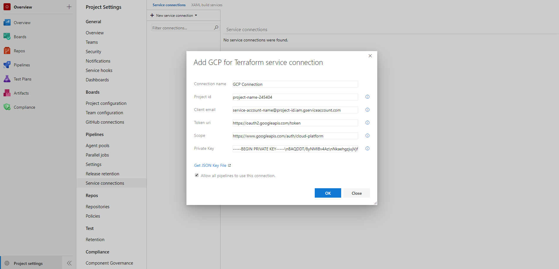 Creating a GCP service connection