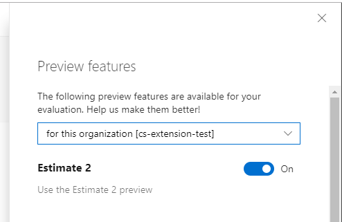 Preview feature panel with enabled feature