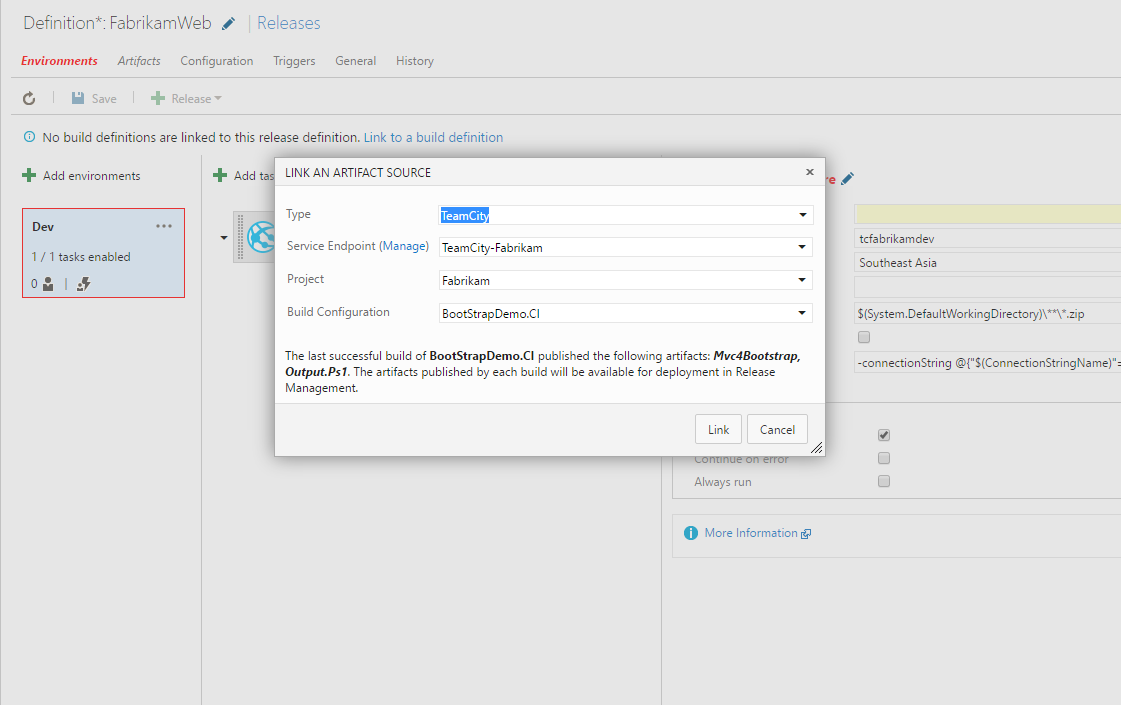 TeamCity artifacts for Release Management - Visual Studio