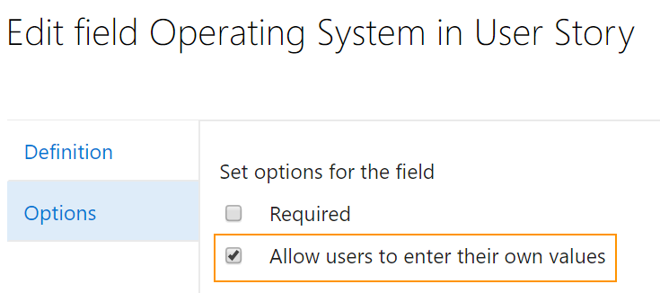 check the box to allow users to enter their own values